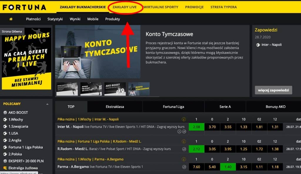 Tutaj są dostępne transmisje Fortuna TV